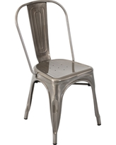 Oregon Industrial Dining Chair Metal/Silver Gloss - LumiSource