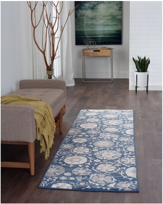 Alise Rugs Carrington Transitional Floral Area Rug (2'3'' x 7'3'' Runner - Navy)