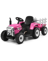 Costway 12V Kids Ride On Tractor with Trailer Ground Loader w/ RC &