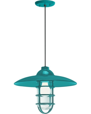 Troy RLM Retro Industrial 13 in. Shade 1-Light Tahitian Teal Finish Pendant