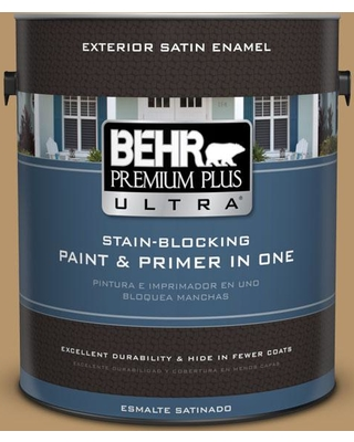 BEHR ULTRA 1 gal. #BNC-15 Tapestry Gold Satin Enamel Exterior Paint and Primer in One
