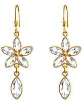 White Topaz Sterling Silver Marquise Dangle Earrings By Essence Jewelry (White - Topaz)