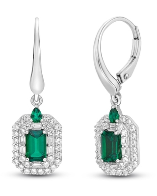 Jared The Galleria Of Jewelry Lab-Created Emerald & Lab-Created White Sapphire Earrings Sterling Silver