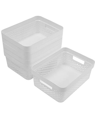 Glad Plastic Basket Set, Value Pack of 6   Open Storage Bins for Shelves, Bathroom, Pantry, Closet   Nesting Organizer Boxes with Handles, 2 Gallon, White
