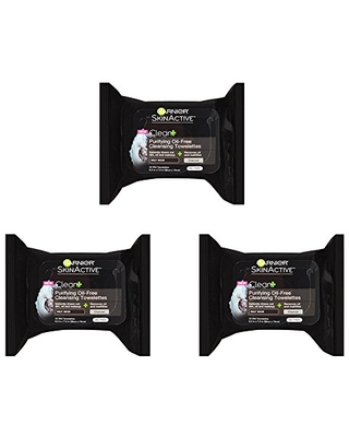 Garnier SkinActive Clean+ Charcoal Oil-Free Makeup Remover Wipes, 3 Count