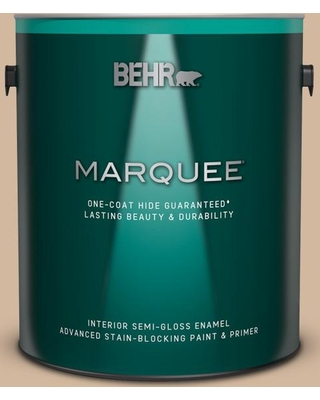 BEHR MARQUEE 1 gal. #S280-3 Practical Tan Semi-Gloss Enamel Interior Paint and Primer in One