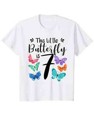 Kids 7 Year Old Butterfly Birthday Girls 7th Girl Party Gift T-Shirt