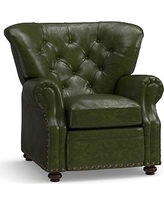 Lansing Leather Recliner, Polyester Wrapped Cushions, Legacy Forest Green