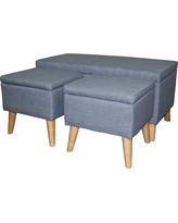 Storage Bench with Ottomans 18 - (Set of 2 Ottomans) - Blue - Ore International