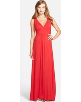 Women's Loveappella V-Neck Jersey Maxi Dress, Size Large - Red