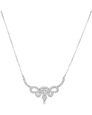 White Cubic Zirconia Sterling Silver Round Chain Necklace by Orchid Jewelry (White - White)