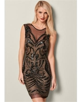 """Embellished Bodycon Dress Dresses - Neutral/black/multi"""