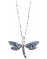 """Hue Sterling Silver Crystal Dragonfly Pendant Necklace, Women's, Size: 18"""", Blue"""