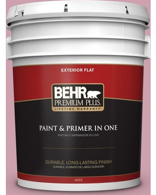 BEHR Premium Plus 5 gal. #100C-3 Birthday Candle Flat Exterior Paint and Primer in One