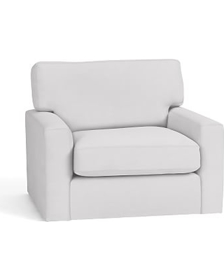 Turner Square Arm Upholstered Swivel Armchair without Nailheads, Down Blend Wrapped Cushions, Twill White