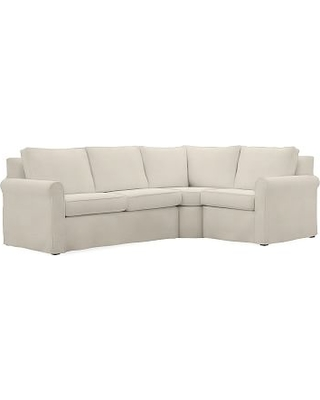 Cameron Roll Arm Slipcovered Left Arm 3-Piece Wedge Sectional, Polyester Wrapped Cushions, Textured Basketweave Flax