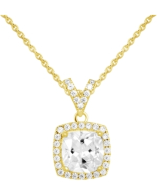 """Cubic Zirconia Halo Pendant Necklace, 16"""" + 2"""" extender in Fine Silver or Gold Plate"""