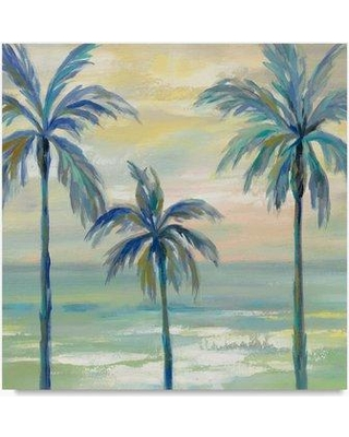 "Bay Isle Home 'Marine Layer Palms Crop' Acrylic Painting Print on Wrapped Canvas BYIL9648 Size: 24"" H x 24"" W"