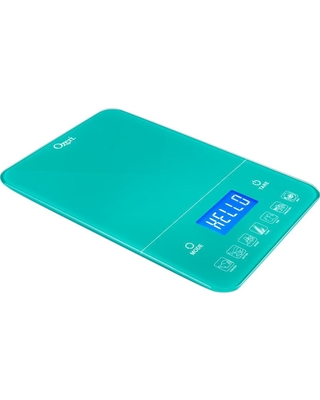 Ozeri Touch III 22 lbs. (10 kg) Digital Kitchen Scale with Calorie Counter, in Teal Tempered Glass