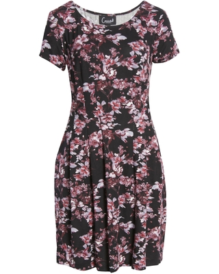 Women's Connected Apparel Floral Pleated Dress, Size X-Large - Purple