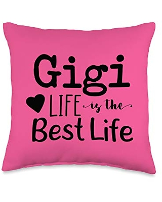 Mom Shirts by Southerngal Grandma Gifts Gigi Best Life Pink Hearts Mother's Day Throw Pillow, 16x16, Multicolor