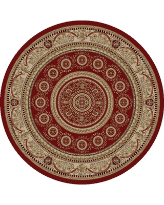 Concord Global Trading Jewel Aubusson Red 5 ft. Round Area Rug