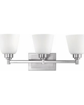 Brushed Nickel Opal Etched Glass 3-Light Bath Bar