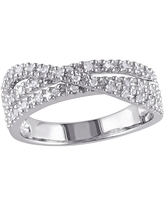 DELMAR Sterling Silver Multi Twist Pave Diamond Ring - 0.25 ctw, Size 11 at Nordstrom Rack