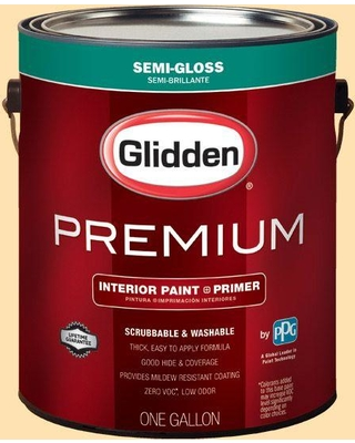 Glidden Premium 1 gal. #HDGY03 Frosted Lemon Semi-Gloss Interior Paint with Primer