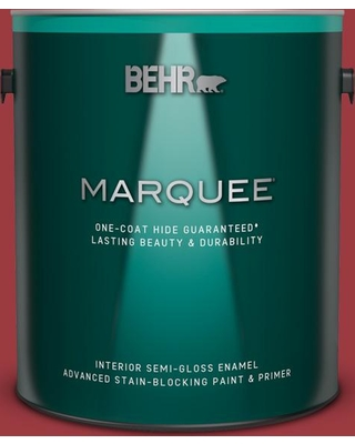 BEHR MARQUEE 1 gal. #QE-06 Reddest Red Semi-Gloss Enamel Interior Paint and Primer in One