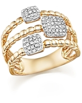 Diamond Pave Triple Row Beaded Band in 14K Yellow Gold, 0.25 ct. t.w.