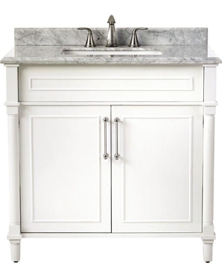 Home Decorators Collection Home Decorators Collection Aberdeen 36 In W X 22 In D Single Bath Vanity In White With Carrara Marble Top With White Sink