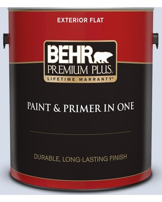 BEHR Premium Plus 1 gal. #590E-2 Snow Ballet Flat Exterior Paint and Primer in One