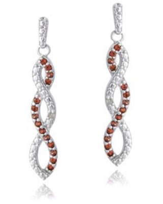 Glitzy Rocks Sterling Silver Gemstones and Diamond Accent Triple Infinity Dangle Earrings (Garnet - Red - January)