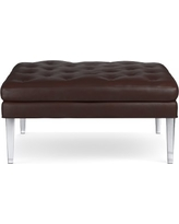 Lucite Ottoman, Square, Tuscan Leather, Solid, Chocolate