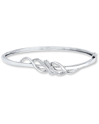 Diamond Bangle Bracelet 1/20 ct tw Round-cut Sterling Silver