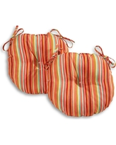 Set of 2 Outdoor Bistro Chair Cushion - Watermelon Stripe - Greendale Home Fashions, Red Stripe
