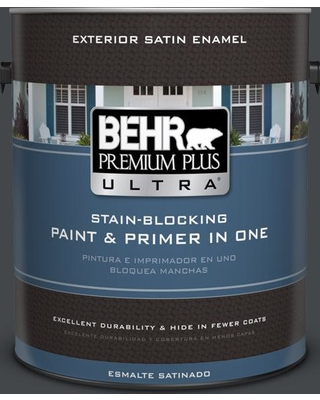 Savings On Behr Ultra 1 Gal Ppu24 23 Little Black Dress Satin Enamel Exterior Paint And Primer In One