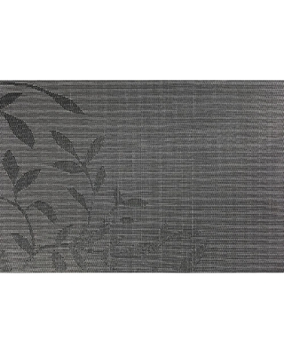 Kraftware EveryTable 18 in. x 12 in. Black and White Leaves Jacquard Polyester Placemat (Set of 12)