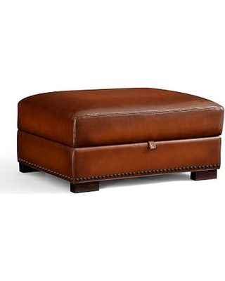 Turner Square Arm Leather Storage Ottoman with Bronze Nailheads, Polyester Wrapped Cushions, Statesville Pebble