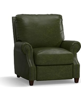 James Leather Recliner, Down Blend Wrapped Cushions, Legacy Forest Green