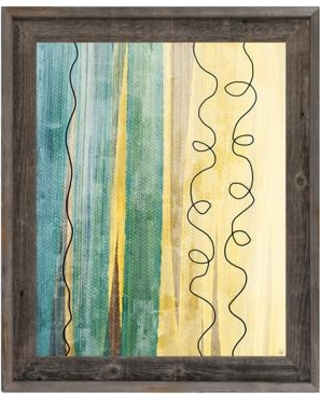 """Click Wall Art Color Divide Teal Framed Painting Print on Canvas CBS0002453FRA Size: 33.5"""" H x 23.5 W x 1"""" D"""