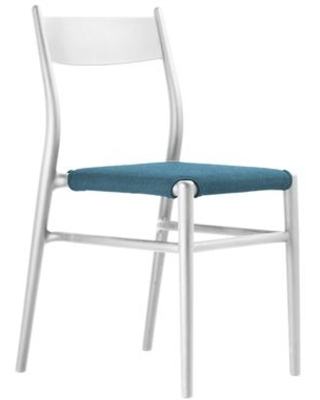 Joi TO-1536W-LB Thirtysix Chair White with Light Blue Seat