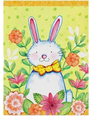 """Trademark Fine Art 'Flowers And Bunny' Acrylic Painting Print on Wrapped Canvas ALI33585-CGG Size: 47"""" H x 35"""" W x 2"""" D"""