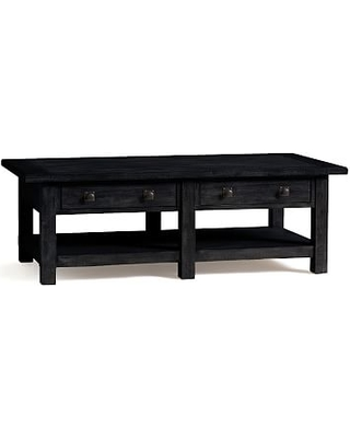 """Benchwright Rectangular Wood Coffee Table with Drawers, Blackened Oak, 54""""L"""