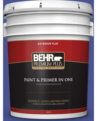BEHR Premium Plus 5 gal. #P540-7 Canyon Iris Flat Exterior Paint and Primer in One