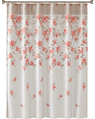Amazing Deal On Coral Pink Garden Floral Shower Curtain Coral