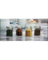 Circleware Mini Optic Glass Spice Jars with Hermetic Locking Lids, Set of 4, 4 oz., Clear