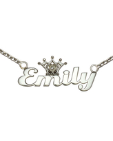 Disney Personalized Girls Diamond-Accent Tiara Sterling Silver Name Necklace, One Size , White