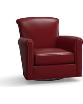 Irving Leather Swivel Armchair, Polyester Wrapped Cushions, Leather Signature Berry Red